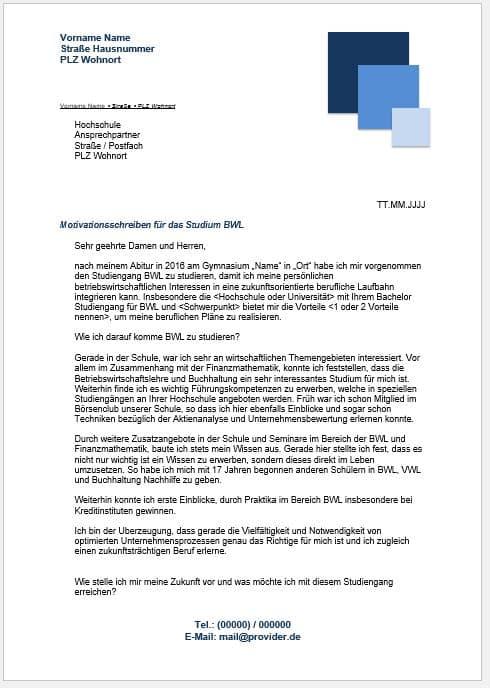 Deutschland Stipendium Motivationsschreiben