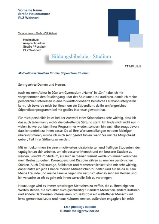 Deutschlandstipendium Bewerbung